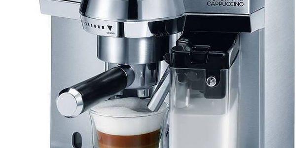 Nadčasový nerezový kávovar DeLonghi s funkcí automatického čištění