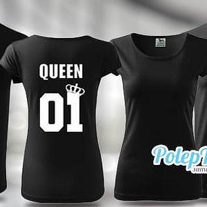 Párová trička King & Queen v černé barvě: 100% bavlna, tričko XS-XXXL, kvalitní potisk