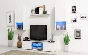 Stylový obývací stěna VERO Bílý mat / Bílý lesk