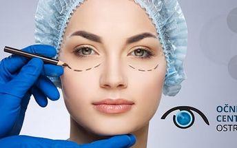 Plastická operace horních nebo dolních očních víček včetně konzultace a pooperační péče