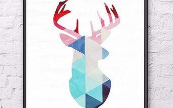 Obraz - jelen v geometrických obrazcích - 40 x 30 cm - poštovné zdarma