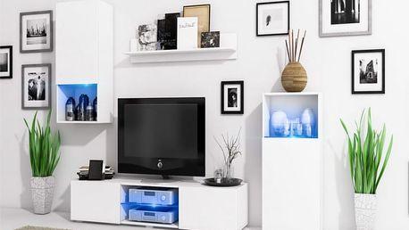 Stylová obývací stěna LOFT Bílý mat / Bílý mat