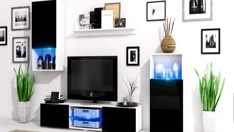 Moderni obývací stěna LOFT Bílý mat / Černý lesk