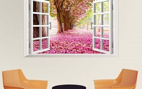 3D samolepka na zeď - Růžově rozkvetlá alej