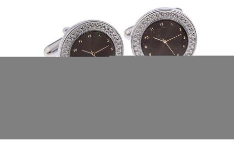 Manžetové knoflíky ciferník hodin rhodiované obecný kov rhodiovaný kulaté 0312