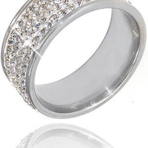 Prsten s White krystaly čtyřřadový krystal obecný kov rhodiovaný krystal kulaté masivní s kamínkem 036412