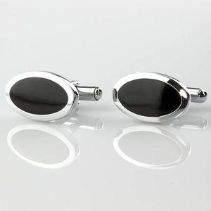 Manžetové knoflíky černé z chirurgické oceli, rhodiované
