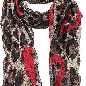 Dámský šátek v leopardím vzoru se srdíčky