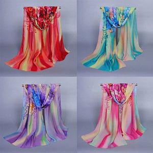 Dámský šátek v květinovém designu - 160 x 50 cm