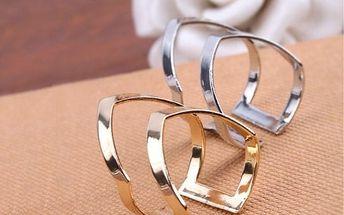 Dvojitý prsten - stříbrná barva - dodání do 2 dnů