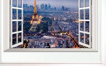 3D samolepka na zeď - Výhled na osvětlenou Paříž
