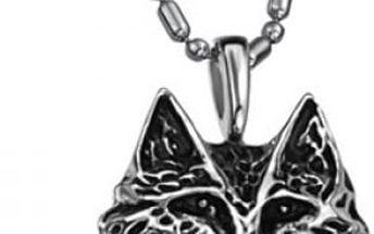 Pánský náhrdelník s přívěskem vlčí hlavy