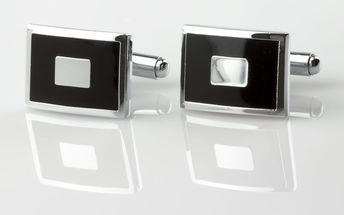 Fashion Icon Manžetové knoflíky čtverec z chirurgické oceli, rhodiované