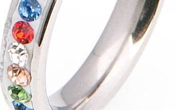 Prsten WHITE barevný s krystalky