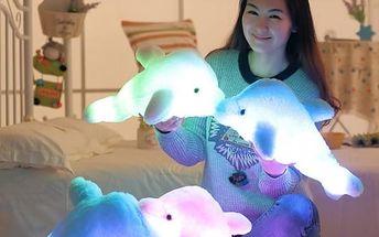 Velký svítící LED polštář - Delfín - 45 cm