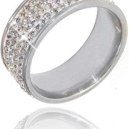Fashion Icon Prsten s White krystaly čtyřřadový krystal obecný kov rhodiovaný krystal kulaté masivní s kamínkem 036412