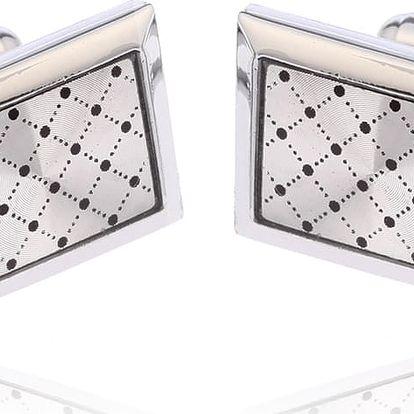 Fashion Icon Manžetové knoflíky rhodiované mřížky