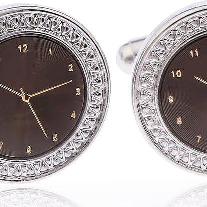 Fashion Icon Manžetové knoflíky ciferník hodin rhodiované