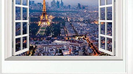 3D samolepka na zeď - Výhled na osvětlenou Paříž - poštovné zdarma