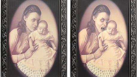 Hororový 3D obraz s měnící se tváří matky s dítětem