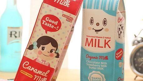 Pouzdro na make up a kancelářské potřeby - retro krabice od mléka