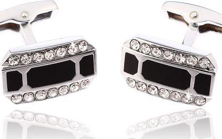 Fashion Icon Manžetové knoflíky obdélník s krystalky