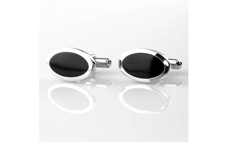 Fashion Icon Manžetové knoflíky černé z chirurgické oceli, rhodiované