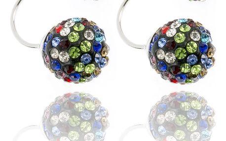 Fashion Icon Náušnice s dvěma kuličkami s krystalky barevné