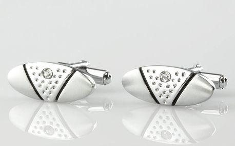 Fashion Icon Manžetové knoflíky s kamínkem z chirurgické oceli, rhodiované