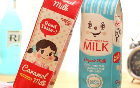 Pouzdro na make up a kancelářské potřeby - retro krabice od mléka - poštovné zdarma