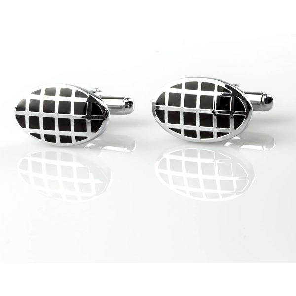 Fashion Icon Manžetové knoflíky oválné z chirurgické oceli, rhodiované