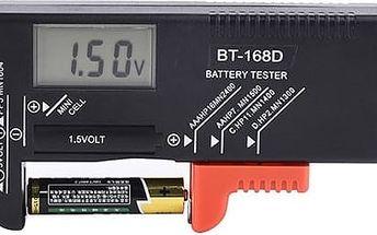 Černý tester baterií - digitální displej - poštovné zdarma