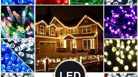 Vánoční venkovní LED řetězy - Efektní světelný řetěz, napájený pomocí 24V trafa.