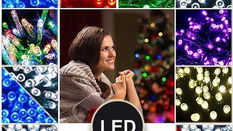 Vánoční osvětlení 150 LED - Řetězy v 6 barvách o délce 15 metrů.