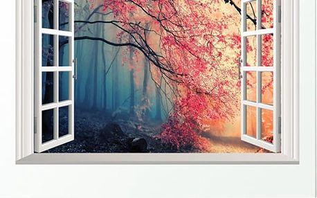 3D samolepka na zeď - Okno do tajemného lesa - skladovka - poštovné zdarma