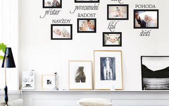 Samolepka na zeď Rodina - fotorámečky, 70x50 cm