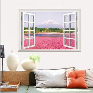 3D samolepka na zeď - Růžové pole pod horským štítem - dodání do 2 dnů