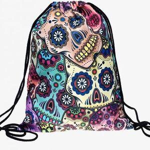 Vak na záda s pestrobarevnými motivy - Mexická lebka - skladovka - poštovné zdarma
