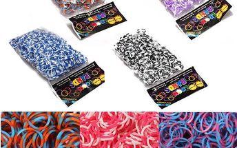 Dvoubarevné gumičky pro tvorbu náramků - různobarevné - skladovka - poštovné zdarma