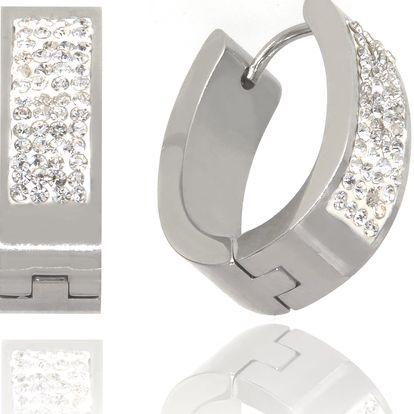 Fashion Icon Náušnice čtyří řady krystalků z chirurgické oceli