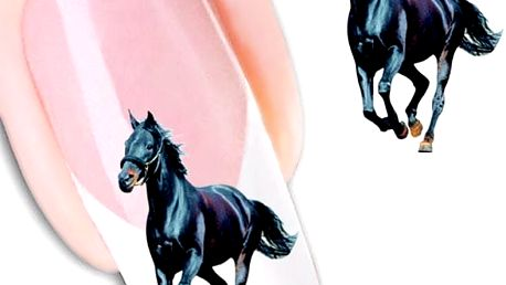 Nálepky na nehty - černý hřebec - 2 archy - skladovka - poštovné zdarma