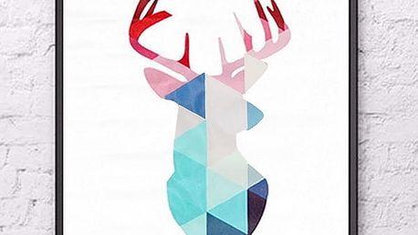 Obraz - jelen v geometrických obrazcích - 40 x 30 cm