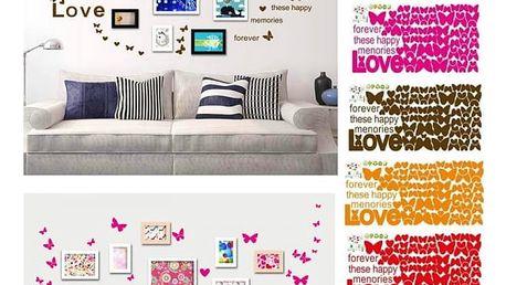 Samolepka na zeď s barevnými motýlky
