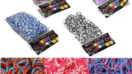 Dvoubarevné gumičky pro tvorbu náramků - různobarevné - dodání do 2 dnů