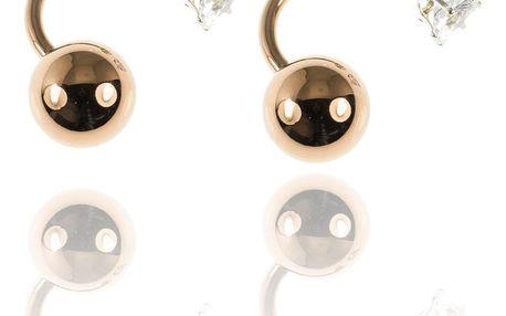 Fashion Icon Náušnice s dvěma kuličkami lesklé barevné