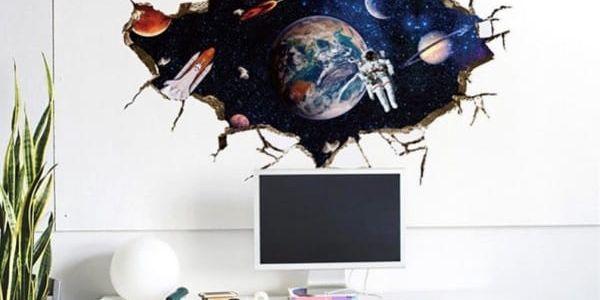 3D samolepka na zeď - Astronaut ve vesmíru - poštovné zdarma