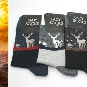Dámské ponožky s jelenem 5 párů! - VÝPRODEJ