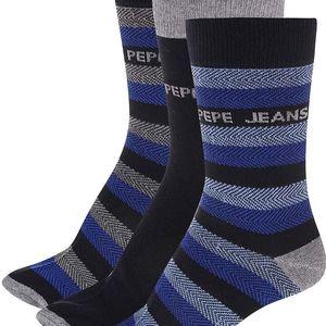 Sada tří párů šedo-modrých ponožek Pepe Jeans Kenley
