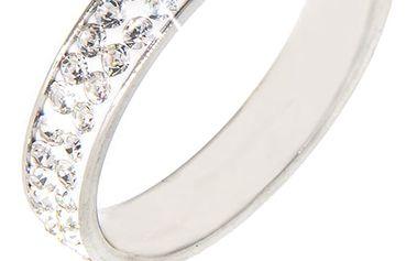 Fashion Icon Prsten s krystaly dvě řady rhodiovaný