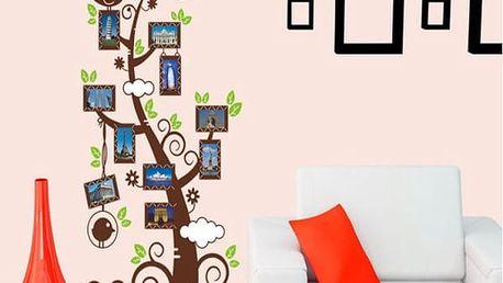 Samolepka na zeď - Barevný strom s fotorámečky - dodání do 2 dnů